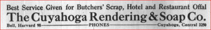 Advertisement for the Cuyahoga Rendering and Soap Company - appeared in the Cleveland City Directory of 1919