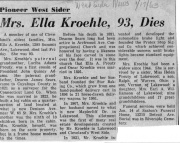 ObituaryKroehle, Ella (Sears) (Maternal granddaughter of Deacon James Sears)1963NOTE: Obituary erroneously states that Deacon Sears is her paternal grandfather.  It should say maternal. Her father was Charles D. Prouty.