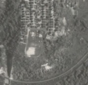 Aerial photograph of Bridgeview Allotment 2 and Calgary Park (1951) - The original loop is visible.