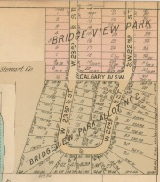 Platmap showing Bridgeview Allotments 1 and 2. Calgary Park area as it appeared prior to purchase by the City of Cleveland. See Hanna Estate and Stewart Land Company.