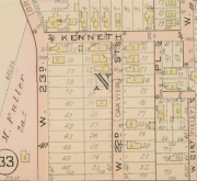Platmap showing Fuller, Kain, and Kroehle Allotment. Kenneth Avenue, W.23rd St., W.22nd St.